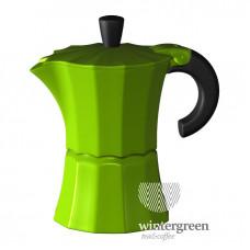 Гейзерная кофеварка Morosina (на 3 чашки). Цвет зеленый.