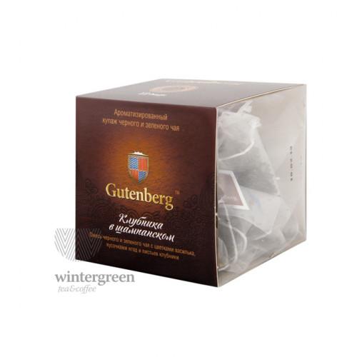 Чай Gutenberg зелёный с черным ароматизированный в пирамидке Клубника в Шампанском