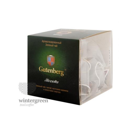Чай Gutenberg зелёный ароматизированный в пирамидке Мохито