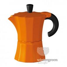 Гейзерная кофеварка Morosina (на 3 чашки). Цвет оранжевый.
