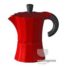 Гейзерная кофеварка Morosina (на 6 чашек). Цвет красный.