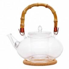 """Чайник стеклянный """"Душистая кувшинка"""" 1200 мл с бамбуковой ручкой"""