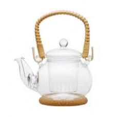 """Чайник стеклянный """"Желтая хризантема"""" с заварочной колбой 400 мл. с пробковой подставкой"""